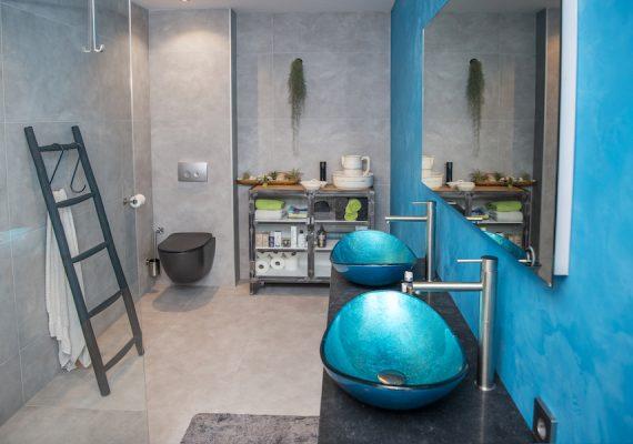 De waskommen en de wand geven deze badkamer een frisse en kleurrijke uitstraling.